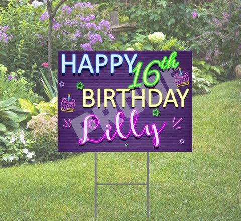 Happy Birthday Neon Theme Yard Sign - with Stake 24x18