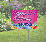 Happy Birthday Day Yard Sign, Pink background with Balloons