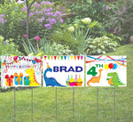 3 Piece Happy Birthday Coroplast yard sign 24x18 with H-stakes