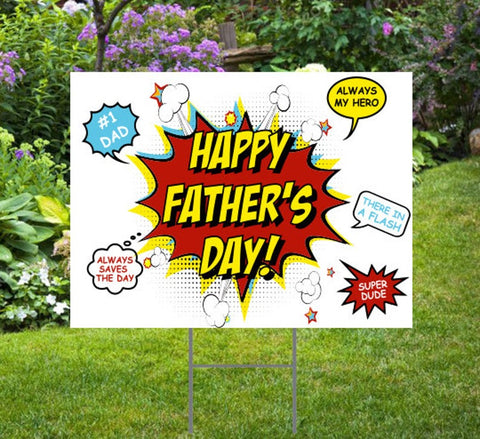 Happy Father's Day Yard Sign: Comic Style