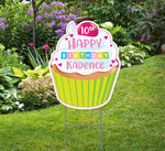Personalized Happy Birthday Cupcake Yard Sign -Girl Birthday