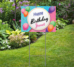 Happy Birthday Yard Sign Pink/Blue with Balloons comes with Stake 24x18,