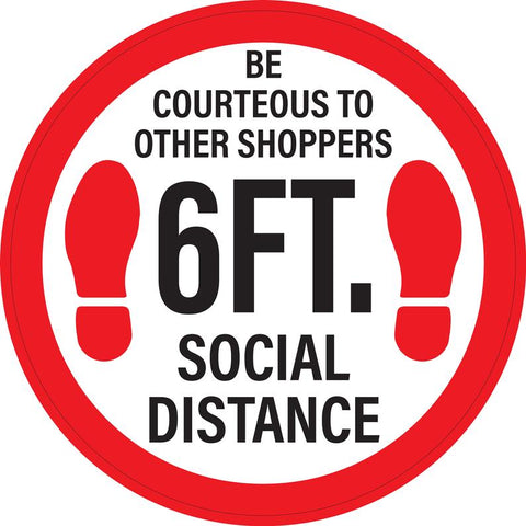 "Circle Floor Graphics -  6 Ft Social Distancing Signage Floor Decals 14"" - Pack of 5"