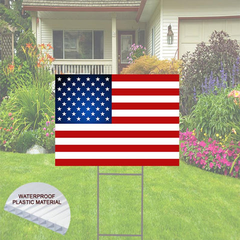 American Flag Yard Sign comes with H-Stake 24x18, printed on coroplast