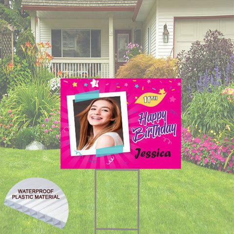 Happy Birthday Yard Sign with Photo -  Pink Theme