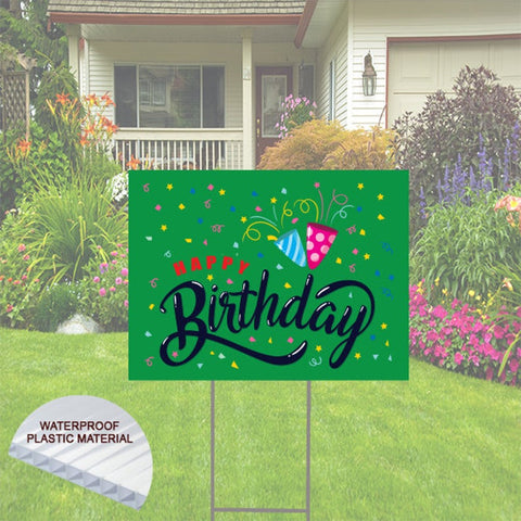 "Happy Birthday Yard Sign    24""x18""  Includes Stake  and Shipping"