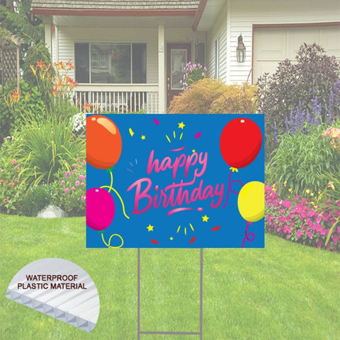 "Happy Birthday Yard Sign with balloons-  24""x18""  Includes Stake  and Shipping"