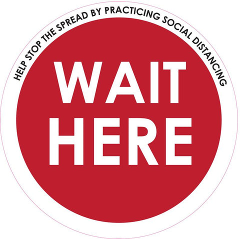 "Circle Floor Graphics -  Wait here Social Distancing Signage Floor Decals 14"" - Pack of 5"