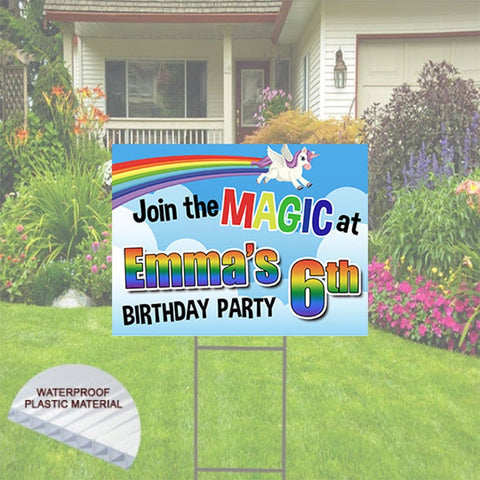 Happy Birthday Yard Sign- Unicorns & Rainbow, 24x18,Includes Stake and shipping