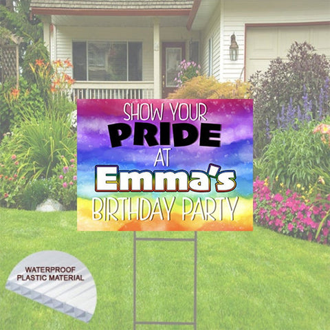 Happy Birthday Yard Sign- Pride Theme LGBT Theme, Stake and Shipping Included.