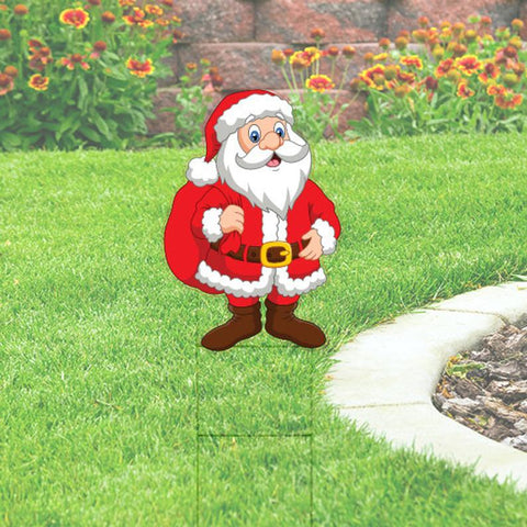 Santa Yard Sign Cutout: 24x36. Includes Stake. Christmas Yard Decoration