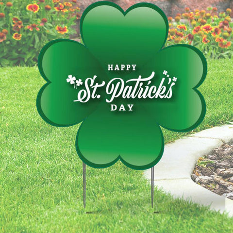 St Patrick's Day Green Clover Yard Sign