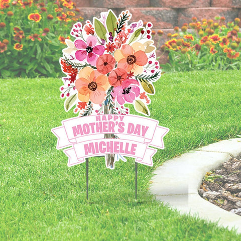 Happy Mother's Day Yard Sign with Mom's Name. Cutout Sign