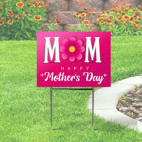 Mother's Day Yard Sign - Pink with Flower