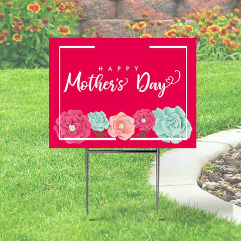 Happy Mother's Day Yard sign Pink with Flowers, Classy Sign