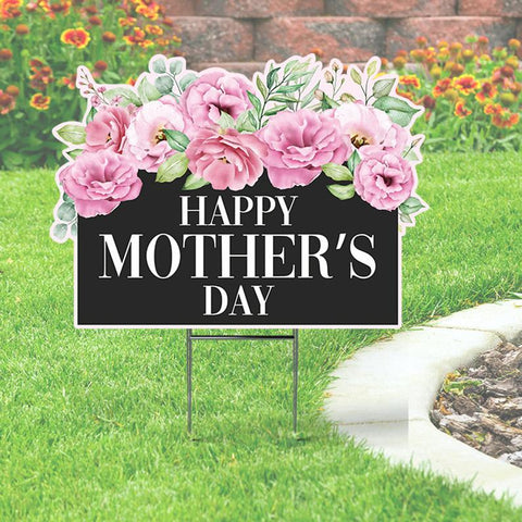 Happy Mother's Day Yard Sign with Flowers