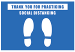 "Vinyl Floor Graphics -  Thank you for Practicing  Distancing Signage Floor Decals 12""x18"" - Pack of 5"