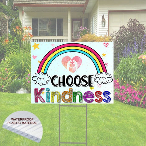 "Choose Kindness Yard Sign Includes Stake 24""x18"". Rainbow Happy Yard Sign"