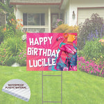 "Pink Flamingo   Happy Birthday Yard Sign  24""x 18""  Includes Stake  and Shipping"