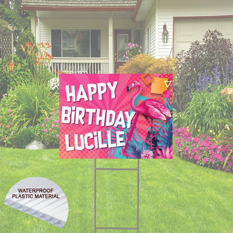 Happy Birthday Yard Sign -Pink Flamingo Style Theme