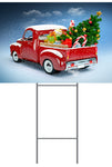Christmas Truck  Yard Sign 24x18 Includes Stake
