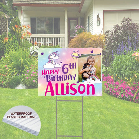 Cute Happy Birthday Yard Sign with Photo and Name -  Unicorn  Theme
