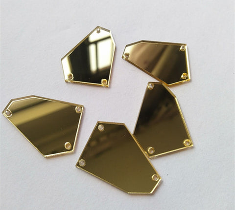 Sew On Acrylic Gold Irregular Mirror