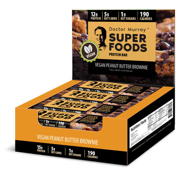 Vegan Peanut Butter Brownie - Box of 12 Protein Bars