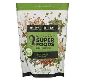 Dr. Murray's, Super Foods, 3 Seed Vegan Protein Powder, Unflavored, 16 oz