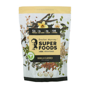 Dr. Murray's, Super Foods, 3 Seed Protein Powder, Vanilla, 16 oz (453.5 g)