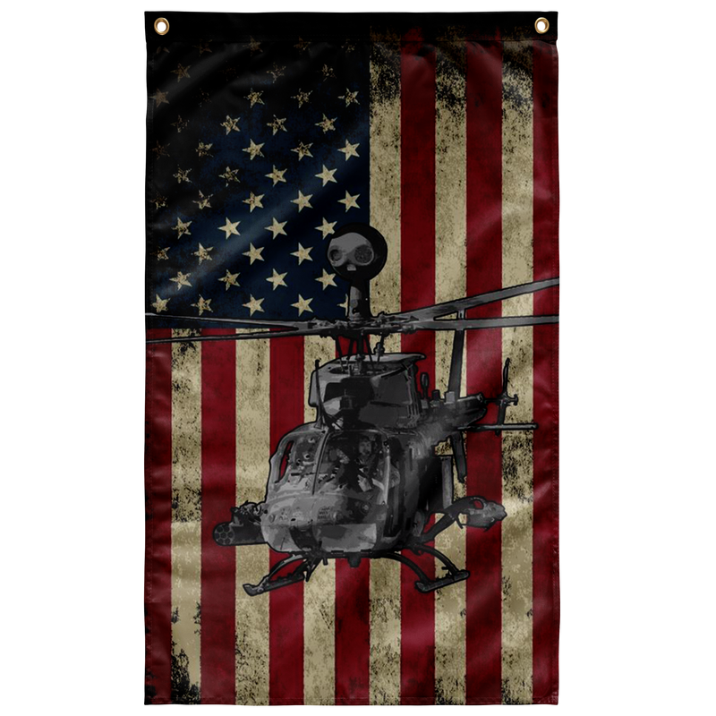 US Army Bell OH-58D Kiowa Helicopter Display USA Military Flag