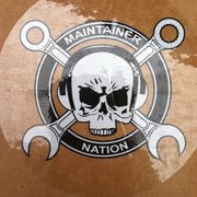 "MX Nation Logo Sticker with ""Maintainer Nation"" and skull and ""cross wrenches"" design from Challenge Coin Nation"