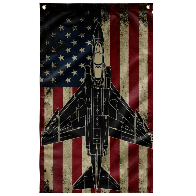 US Navy McDonnell F-4 Phantom Fighter Airplane Military Flag