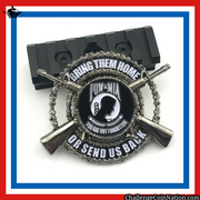 "Red, white, and blue bordered image of the POW MIA Challenge Coin the POW/MIA flag in the center encircled by the phrase ""Bring Them Home Or Send Us Back"""