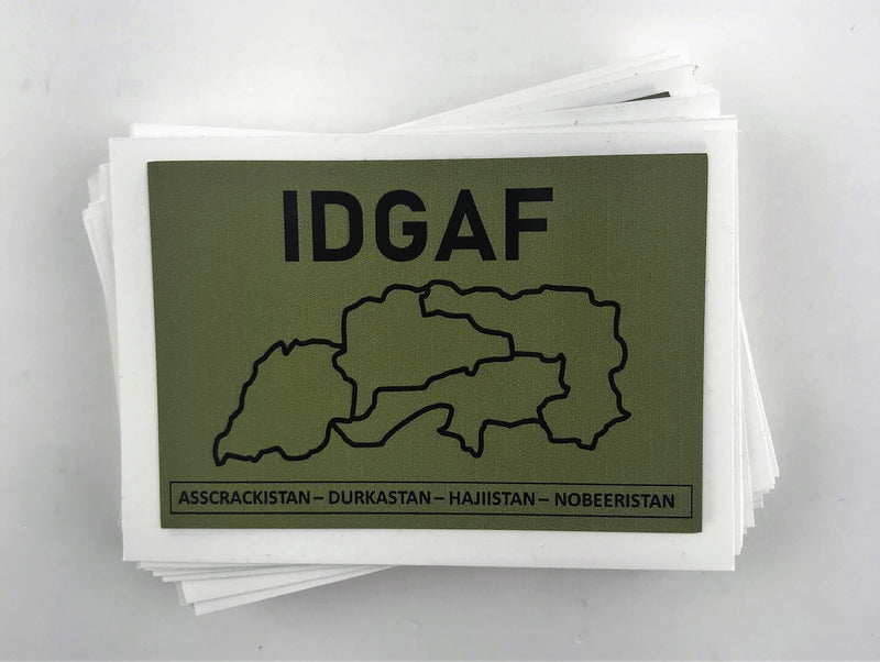 Stack of IDGAF Stickers from Challenge Coin Nation