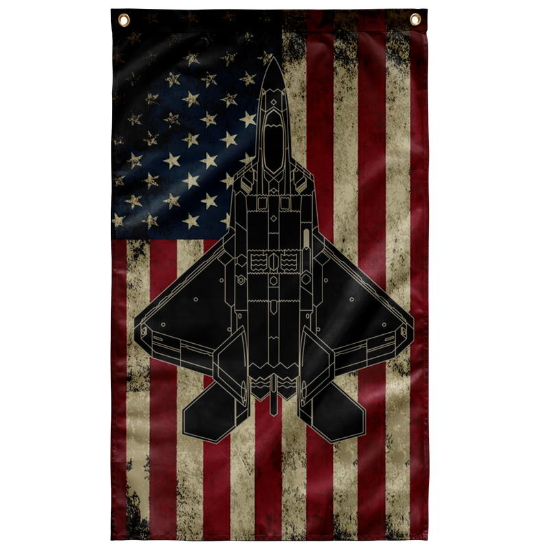 F-22 Raptor Fighter Colorized Display Flag