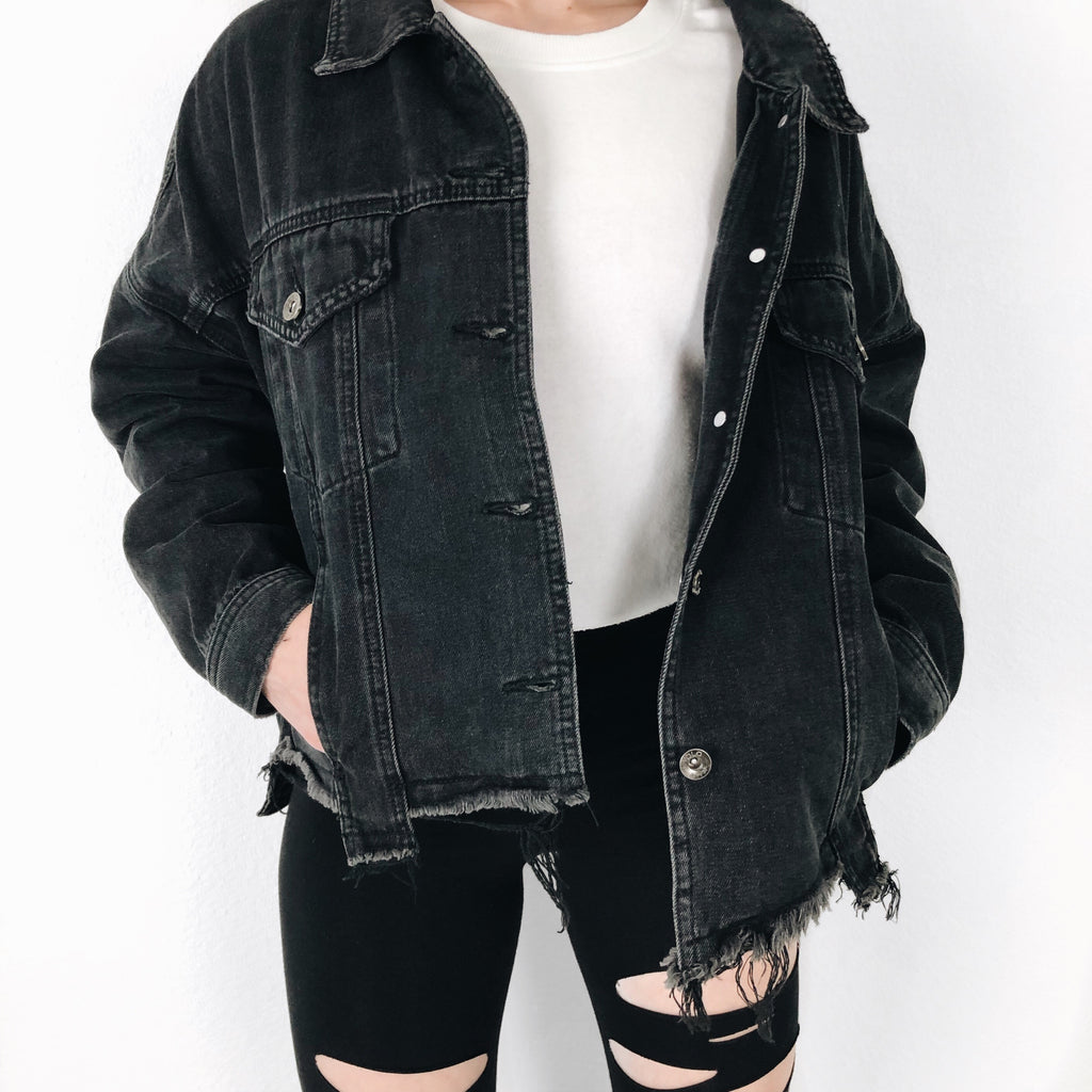 """Rebel"" Black Distressed Denim Jacket"
