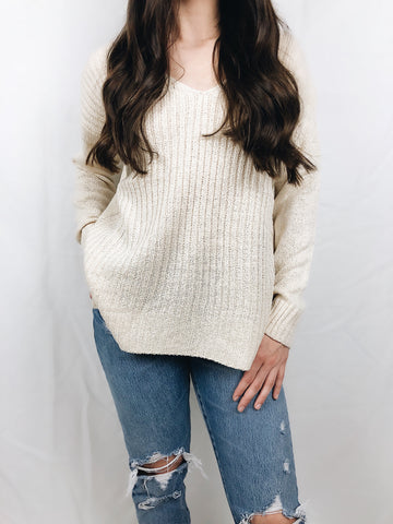"""Chanelle"" Distressed Sweater"