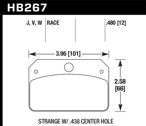 Hawk DR-97 Brake Pads for Strange w/ 0.438in Center Hole