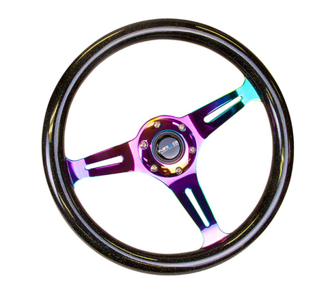 NRG Classic Wood Grain Steering Wheel (350mm) Black Sparkle/Galaxy Color w/Neochrome 3-Spoke