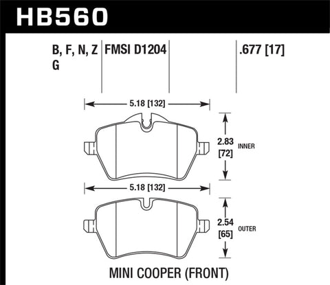 Hawk 05-06 JCW R53 Cooper S & 07+ R56 Cooper S HPS 5.0 Front Brake Pads - Chris Taylor Racing Services