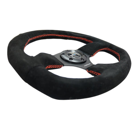 NRG Reinforced Steering Wheel (320mm Horizontal / 330mm Vertical) Suede w/Red Stitch - Chris Taylor Racing Services