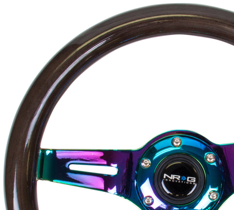 NRG Classic Wood Grain Steering Wheel (310mm) Black w/Neochrome 3-Spoke Center