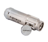 NRG 700 Series M12 X 1.25 Steel Lug Nut w/Dust Cap Cover Set 21 Pc w/Locks & Lock Socket - Silver