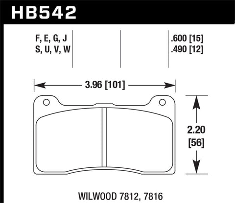 Hawk Wilwood 15mm DTC-60 Race Brake Pads