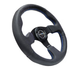 NRG Reinforced Steering Wheel (320mm) Black Leather w/Blue Stitching