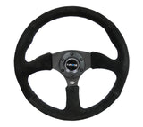 NRG Reinforced Steering Wheel (350mm / 2.5in. Deep) Blk Suede Comfort Grip w/5mm Matte Blk Spokes - Chris Taylor Racing Services