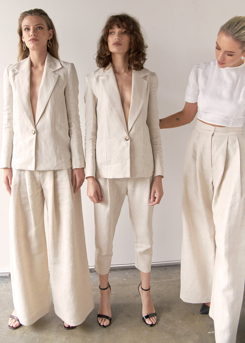 Marlo by Marlo Apostle Linen Suit Cropped Editorial