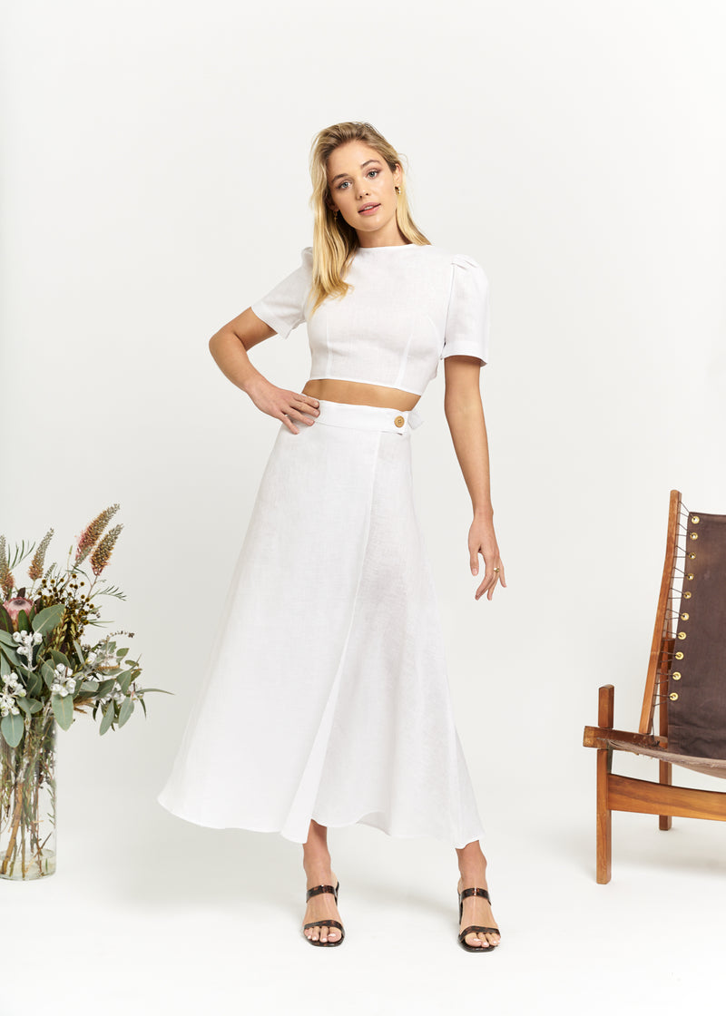 Marlo by Marlo Carefree Linen Wrap Skirt White
