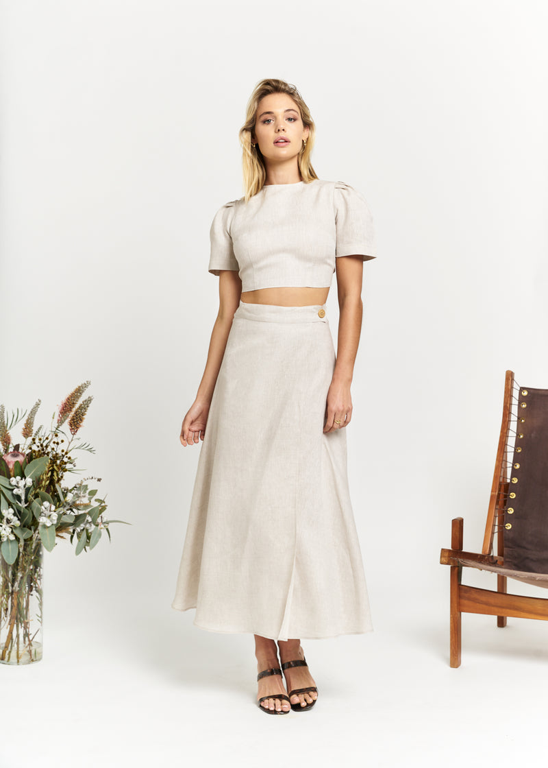 Marlo by Marlo Carefree Linen Wrap Skirt Sand